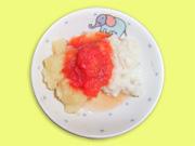 魚とじゃがいものトマトソースかけ